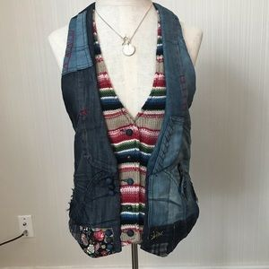 Desigual Denim Knit Patchwork Vest